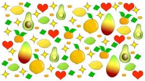 Composizione nella frutta su un fondo bianco illustrazione di stock