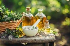 Composizione nella stazione termale con le erbe fresche ed i tipi differenti di oli Immagini Stock Libere da Diritti