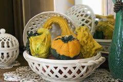 Composizione nella zucca di autunno Fotografia Stock