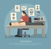 Composizione nello studio del tatuaggio illustrazione vettoriale