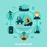 Composizione offshore in estrazione dell'olio illustrazione vettoriale