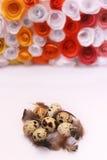 Composizione in Pasqua con la decorazione festiva dei fiori ed uova degli ossequi tradizionali le mini Immagini Stock Libere da Diritti