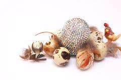 Composizione in Pasqua con le uova di quaglia Fotografia Stock