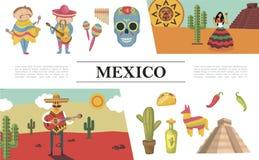 Composizione piana del Messico fotografia stock