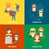 Composizione piana nell'icona del supereroe Fotografie Stock