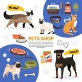 Composizione piana nelle icone del negozio di animali royalty illustrazione gratis