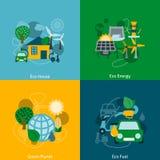 Composizione piana nelle icone di energia di Eco Fotografia Stock Libera da Diritti