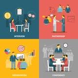 Composizione piana nelle icone di riunione d'affari Fotografia Stock