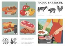 Composizione piana in picnic di fine settimana immagini stock