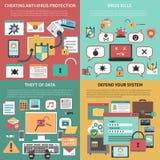 Composizione piana quadrata nelle icone di sicurezza informatica Fotografia Stock Libera da Diritti
