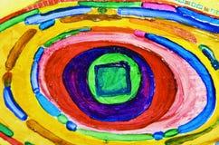 Composizione pittoresca astratta Disegnando con le pitture ad olio Raggi gialli del sole, nastri, stelle, centro Fotografia Stock