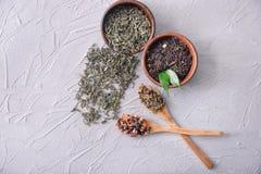 Composizione posta piana con differenti tipi di foglie di tè asciutte su fondo leggero immagine stock libera da diritti