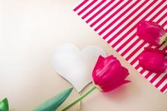 Composizione posta piana con i fiori e cuore per mother' giorno di s, accogliente per le donne Tulipani rossi su fondo rosa immagini stock