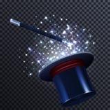 Composizione in racconto con la bacchetta ed il mago magici Hat illustrazione vettoriale