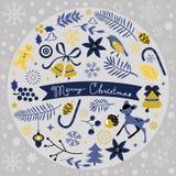 Composizione rotonda in bello Natale Immagini Stock