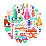 Composizione rotonda musicale Immagini Stock Libere da Diritti