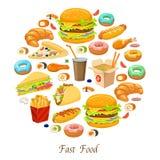 Composizione rotonda negli alimenti a rapida preparazione royalty illustrazione gratis