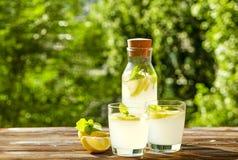 Composizione rustica con limonata fredda casalinga di recente schiacciata in bottiglia e vetri con le goccioline di condensazione Fotografie Stock Libere da Diritti