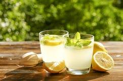 Composizione rustica con limonata fredda casalinga di recente schiacciata in bottiglia e vetri con le goccioline di condensazione Fotografia Stock