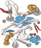 Composizione sanitaria in ingegneria con i tubi e illustrazione vettoriale