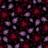 Composizione senza cuciture astratta con i fiori e le foglie rossi del lillà sul nero Fotografia Stock