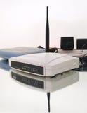 Composizione senza fili bianca nel router Fotografia Stock