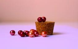 composizione sfumata con le perle in tonalità del rosa Fotografie Stock Libere da Diritti