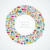 Composizione sociale EPS1 nel cerchio delle icone della rete di media Immagine Stock Libera da Diritti