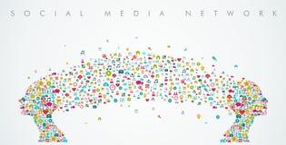 Composizione sociale nella rete di media di forma delle teste delle donne Immagini Stock Libere da Diritti
