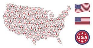 Composizione stilizzata della mappa americana del gas nervino Chemical Warfare di WMD illustrazione vettoriale