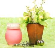 Composizione verde per la stanza da bagno. Fotografia Stock