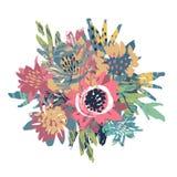 Composizione in vettore con i fiori e la struttura dipinta a mano illustrazione vettoriale