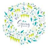 Composizione in vettore dei fiori e delle erbe della primavera Fotografia Stock