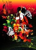 Composizione in vettore del geisha Immagini Stock