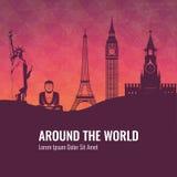 Composizione in viaggio con i punti di riferimento famosi del mondo Viaggio e turismo Vettore Fotografia Stock