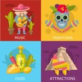 Composizioni colorate messicano illustrazione vettoriale