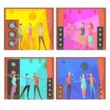 Composizioni nel partito di karaoke messe Fotografia Stock Libera da Diritti
