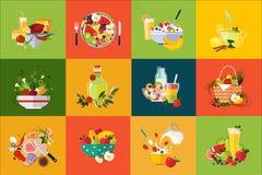 Composizioni piane in vettore con alimento e le bevande Cibo sano Ortaggi freschi deliziosi e frutta della prima colazione Immagini Stock