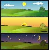 Composizioni in vettore di paesaggio Immagine Stock Libera da Diritti