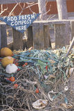 Compost. A sign that reads Add fresh compost here Royalty Free Stock Photography