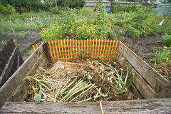 Compost bin. Compost pile in a vegetable garden Royalty Free Stock Photo
