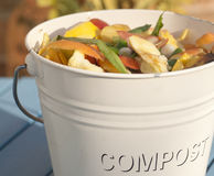 Compost Bin Detail. Detail outdoor shot of a kitchen compost bucket Stock Images