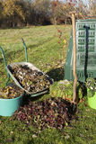 Compost. Bin, waste, organic  and mulch in a autumn garden Stock Photography