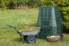 Compost. Bin, waste, organic  and mulch in a autumn garden Royalty Free Stock Photo