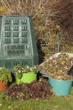 Compost. Bin, waste, organic  and mulch in a autumn garden Stock Images