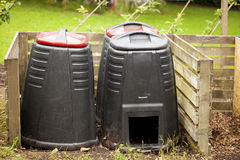 Compost bins. Compost bin in a garden Stock Photo