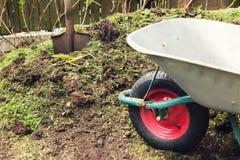 Compost - garden plant fertilizer. Wheelbarrow and spade royalty free stock photos
