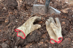 Compost, Gloves and Shovel Royalty Free Stock Image