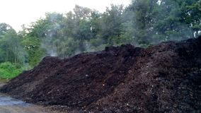 Compost heap with steam stock footage
