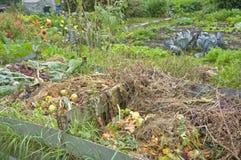 Compost Pile. In a vegetable garden Stock Photos